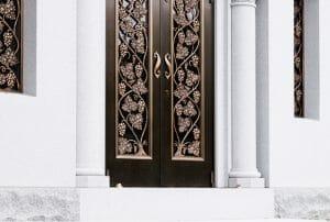 Blue gray Mausoleum Door